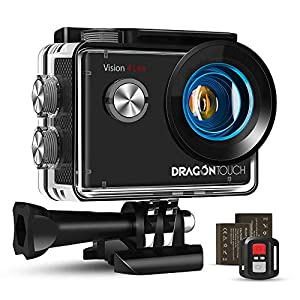 Dragon Touch 4K Action Camera 20MP EIS Vision 4 Lite Waterproof Camera Support External Mic Webcam 100 feet Underwater Camera Remote Control Sports Camera with 2 Batteries and Mounting Accessories Kit