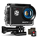 Dragon Touch 4K Action Camera, 20MP EIS Anti-shake Support External Microphone Underwater 100ft