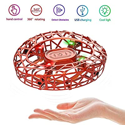 MARSMO Flying Toys Drones Children's Gift UFO Mini Drones for Kids and Adults Hand Controlled RC Helicopter Quadcopter Rechargeable with Infrared Induction Boys Girls Flying Toy Orange?2020 NEWEST?