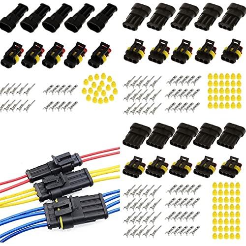 WSFANG Interruptor de Coche 15 Kits 2 + 3 + 4 Pin 12A Way Coche Sellado Impermeable Conector de Alambre eléctrico Enchufe para Camiones de Motocicleta Caravans Barcos Automóviles, Camiones, etc.