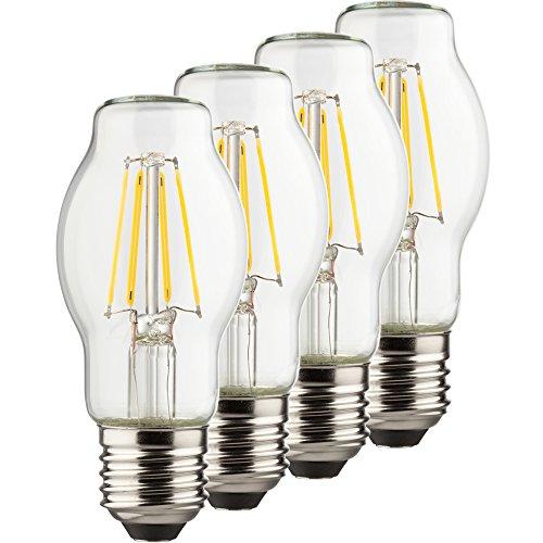 Müller-Licht 400210 A + +, Lot de 4 Ampoule Led Rétro BTT équivalent 60 W, verre, E27, Blanc, 4.6 x 4.6 x 10.7 cm