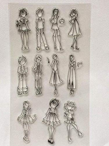 Welcome to Joyful Home 1pc Fashion Girls Clear Stamp for Card Making Decoration and Scrapbooking