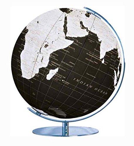 Columbus Leuchtglobus Artline: schwarzer Design-Globus, 34 cm, Meridian und Fuß Chrom, Farbwechsellampe mit Fernbedienung