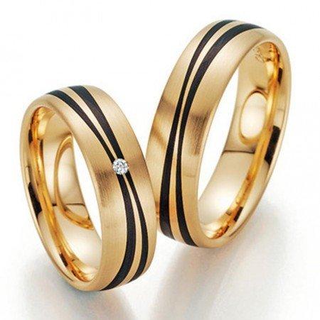 Trauringe Gold mit Carbon Fischer 22/23-01080/060