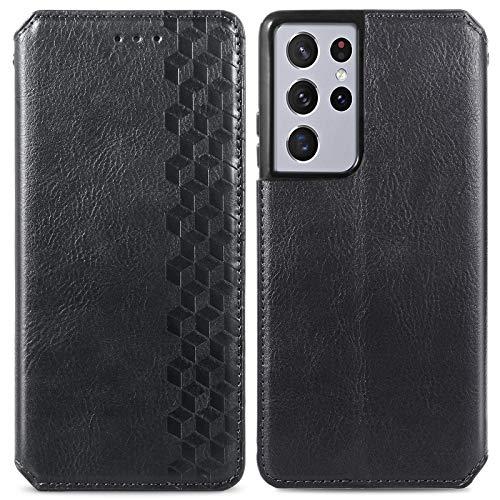 Trugox Funda Cartera para Samsung S21 Ultra de Piel con Tapa Tarjetero Soporte Plegable Antigolpes Cover Case Carcasa Cuero para Samsung Galaxy S21 Ultra 5G - TRSDA120781 Negro