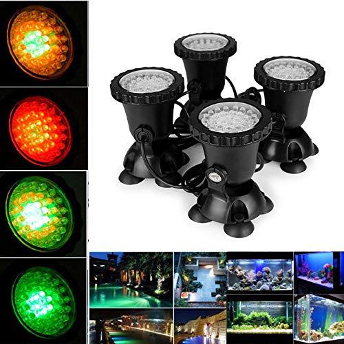 RGB Unterwasserlicht Aquarium, FORNORM 4 Pack Teichbeleuchtung Unterwasser Unterwasserleuchte Aquarium 180°Verstellbarer Lichtwinkel, IP68 Wasserdicht, 12W/12V