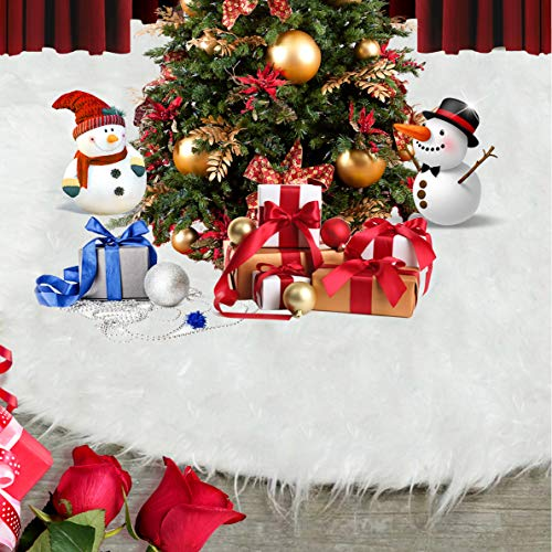 HOPEME Christmas Tree Skirt 48 Inch White Plush Faux Fur Classic Xmas Tree Skirts for Christmas Tree Decorations Holiday Party Indoor Outdoor Decoration