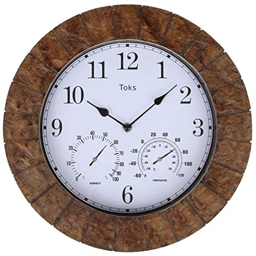 14-Inch Faux-Slate Indoor or Outdoor Wall Clock with Thermometer and Hygrometer by Lily's Home