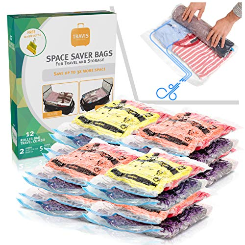 Compression Bags for Travel No Vacuum - Reusable Large Sealed Space & Storage Saver Compression Packing, 12 Pack