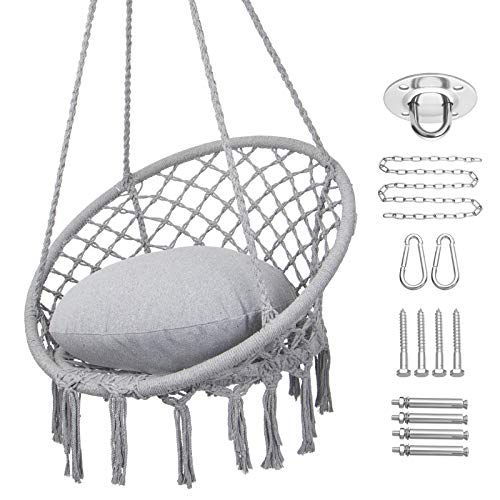 Y- STOP Hammock Chair Macrame Swing, Max 330 Lbs, Hanging Cotton Rope Hammock Swing Chair for Indoor and Outdoor Use, Light Grey