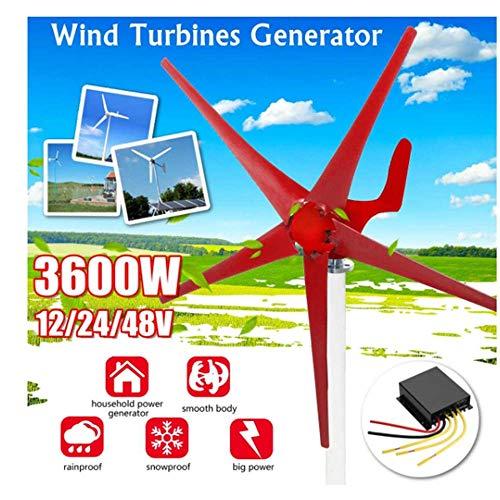 SISHUINIANHUA 3600W Windkraftanlagen Generator 12/24 / 48V 5 Windmesser Option mit Laderegler Verwendung für Zuhause, Beleuchtung, Camping, Boot,12v