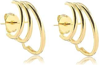 Brinco ear hook com três fios liso folheados em ouro 18k