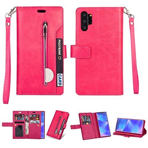 MKOKO Durable para Samsung Galaxy Note10 + Cremallera Multifuncional Caja de Cuero Horizontal Flip con Soporte y Billetera y 9 Tarjetas Slots & Lanyard (Color : Rose Red)
