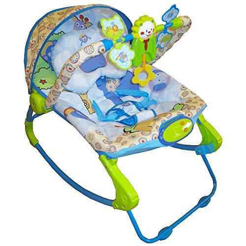 Cadeira Cadeirinha De Descanso Rocker Musical Bebê Com Balanço Azul