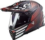 LS2 Casco Cross Moto Pioneer EVO Saturn Negro Mate Rojo, M