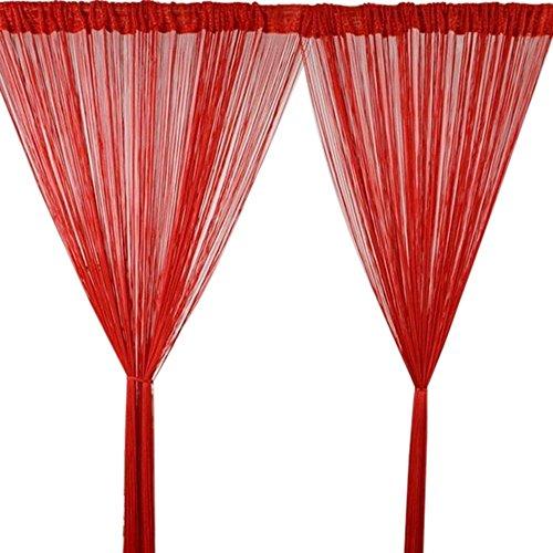 Godagoda Fadenvorhang Wandvorhang Balkonvorhang Türvorhang Fliegenschutz Fadengardine Raumteiler mit Quaste 100x200cm Rot