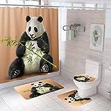 4 Stück Panda Duschvorhang-Sets mit rutschfestem Teppich, WC-Deckelbezug, U-Matte, Badematte & Duschvorhang mit 12 Haken, wasserdichte Duschvorhang-Sets für Badezimmer (Panda)