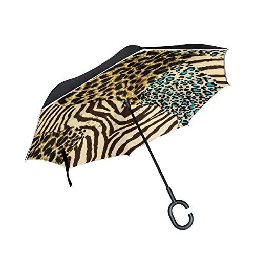 Pferd mit C-förmigem Griff für EIN Auto mit Tiermotiv Leopard Zebra Tiger-Umkehrschirm Sonnenschirm Winddichter Außenschirm