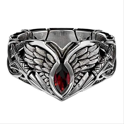 European And American Creative Retro Fashion Men's Ring, Red Zircon Horse-eye Ring, Jewelry Accessories For Men, Gift For Your Boyfriend,hip Hop Biker Ring,demon Eye Fallen Angel Wings