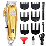 Barber Hair Clippers for Men - Professional Hair Trimmer Cordless Rechargeable 2200mAh Men Hair Beard Cutting Kit with 7 Grooming Combs, Oil and USB Cable, LED Display Haircut Kit