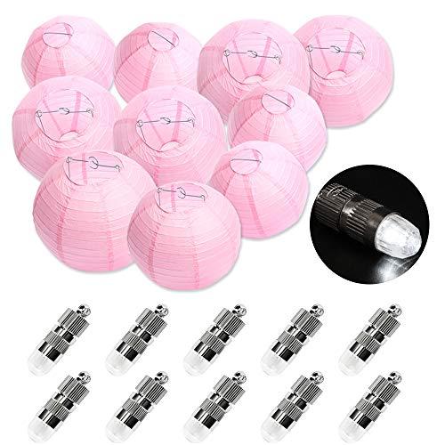 FullBerg 10er Rosa Papier Laterne Lampions (25cm) + 10er Kaltweiße Mini LED-Ballons Lichter, rund Lampenschirm Hochtzeit Garten Dekoration Papierlaterne 10