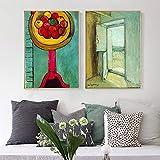 抽象的な壁アートエンリケマティスヴィンテージポスタープリントフルーツキャンバス油絵ミニマリストの写真リビングルームの家の装飾40X60cmx2フレームなし