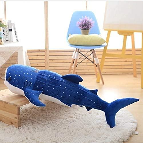 XIAN Juguetes de peluche de tiburón azul de estilo Big Fish Cloth muñeca de ballena rellena de felpa de mar sChildren regalo de cumpleaños 100 cm A granizo (color: A, tamaño: 100 cm)