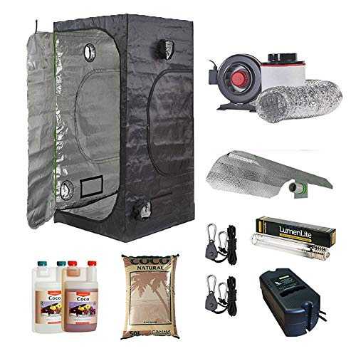 Complete Grow Kit for Indoor Gardening - 600w Dual Spectrum Light Kit - 45Carbon Filter Kit - Canna Coco - 1.5 x 1.5 x 2m Premium Grow Tent
