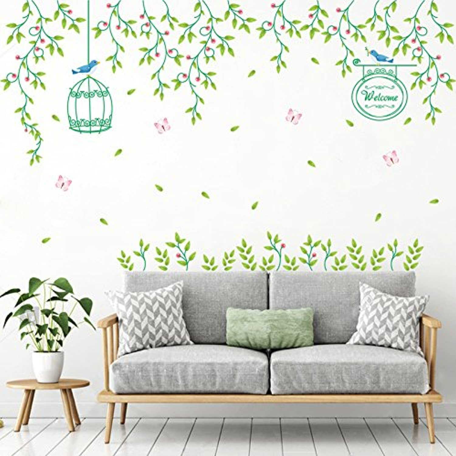 Znzbzt Flower Rattan Room Wall Decoration Wall Posters Wall Sticker Green