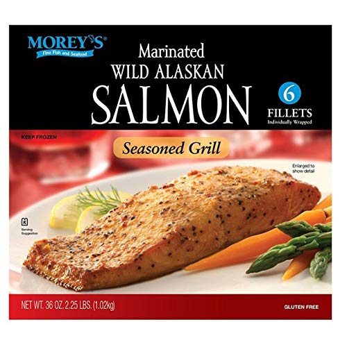 Morey's Marinated Wild Alaskan Frozen Salmon, 2 Boxes of 6 Fillets (12 total)   Gluten Free and Premium Quality   Net WT – 72 OZ   By Gourmet Kitchn