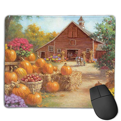 Gaming-Mauspad, Mauspads Autumn Pumpkin Farm House Rectangle Rubber Mousepad Gaming Mouse Pad 9.8x12 Inch for Notebooks,Desktop Computers