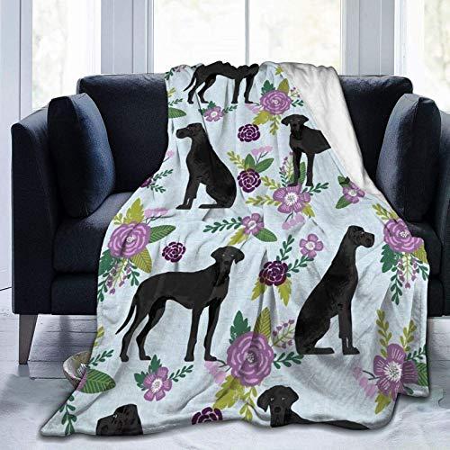 AEMAPE Gran danés, Colcha Negra para Mascotas, colección C, Manta Floral coordinada, Manta Suave y cálida para Cama, sofá, Oficina, Sala de Estar