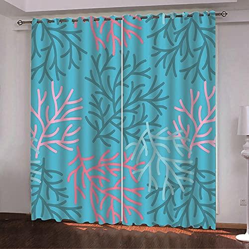 ZZYLCDT Cortinas Opacas Patrón de Rama Rosa Azul Cortina Decorativa Opaca con Ojales, Estilo Simple y Elegante, para Salón, Habitación y Dormitorio 140x215cm x2