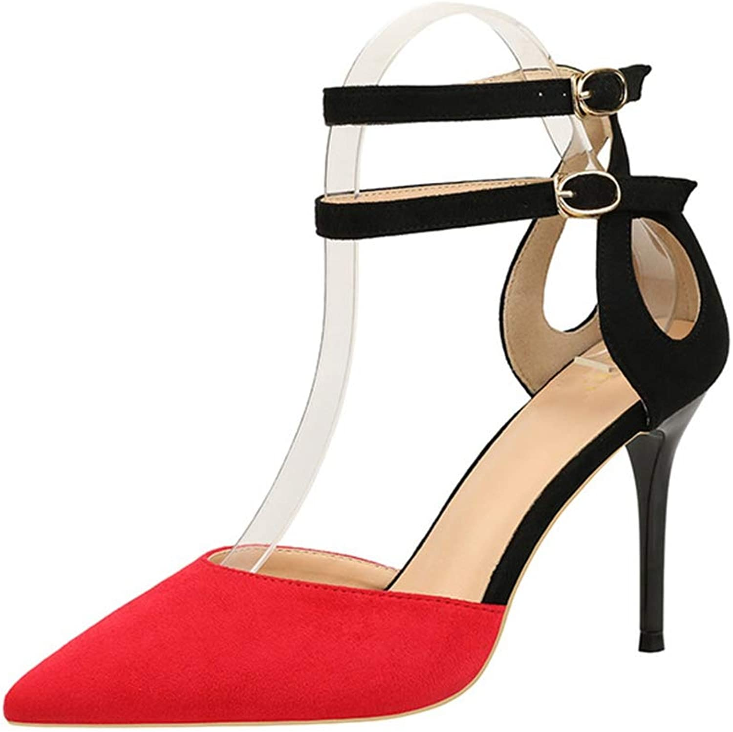 Sam Carle Womens Pumps,Summer Sexy High Heel Yellow Red Ankle Strap Pump Work shoes