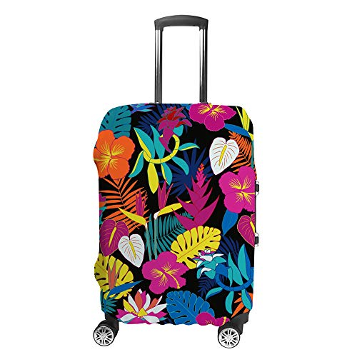 CHEHONG Suitcase Cover Luggage Cover Tropical Jungle Flowers Pink Travel Trolley Case Protective Washable Polyester Fiber Elastic Dustproof Fits 26-28 Inch
