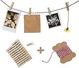 Fotoleine, Fotoseil, Bastelset für Fotos, Fotowand oder Adventskalender - 10 m Bakers Twine Garn,...