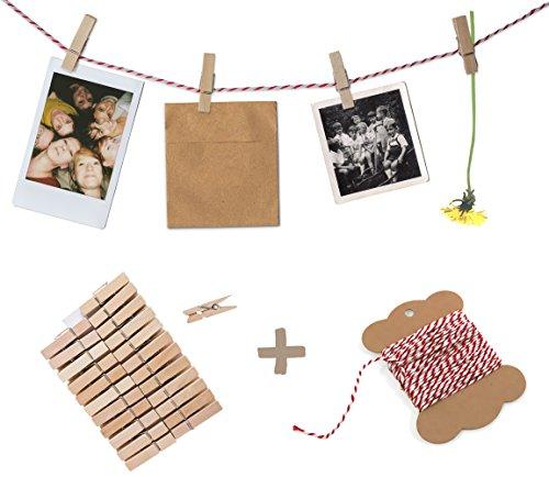 Fotoleine, Fotoseil, Bastelset für Fotos, Fotowand oder Adventskalender - 10 m Bakers Twine Garn, rot weiß & 24 Mini Holz Klammern - für Polaroids, Postkarten, Bilder, Geschenke oder Hochzeitsspiel