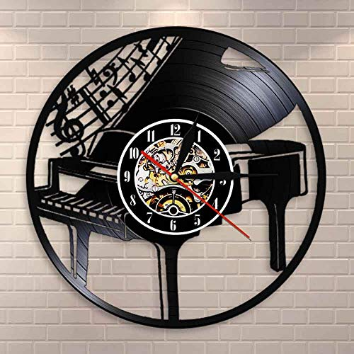 DJDLNK muziekinstrument piano wandklok noten melodie vleugels noten pianist muzikant cadeau Met led.