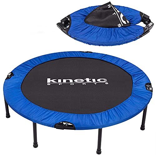 Kinetic Sports Fitness Trampolin, TOP Marke Testbild Auszeichnung!, Indoor Minitrampolin, Sprungtraining, Smart Jumping Workout, platzsparend faltbar, Ø 122cm, bis 100kg