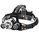 GRDE Lampe Frontale Inclinable 3 Torche LED Puissante Headlight Rechargeable Headlamp pour VTT Cycliste, Randonne,Chasse...