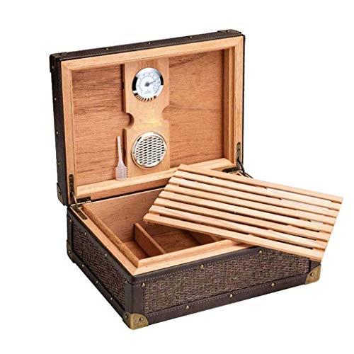 YAOSHI Bodega de cigarros Humidificador con higrómetro y humidificador - termostático humidor de Puros con higrómetro y humidificador para la conservación de cigarros