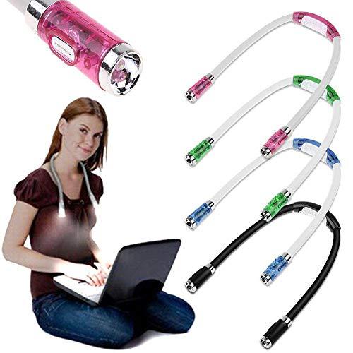 Luminária de LED DragonPad para livros – Lâmpada de estudo de pescoço flexível – 4 modos ajustáveis de mãos livres – Luz de acampamento noturna operada por bateria azul e branco