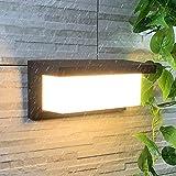 Lámpara de Pared Exterior HOMEOW 24W Aplique LED IP65 Impermeable Aplique Pared 3000K Blanco Cálido 1500LM 30CM Negro para Exterior Interior Jardín Terraza Baño Garaje