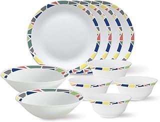 Larah by Borosil - Tiara Series, Garnet, 10 Pcs, Opalware Dinner Set, White