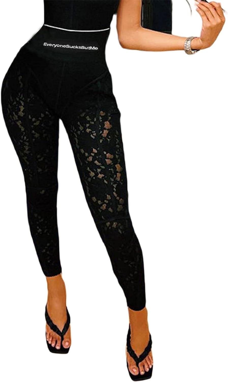 Women Sexy Lace Bodycon Boned Slim Leggings Zip Up High Waist Letter Print Floral Sheer Mesh Pants Clubwear Tracksuit