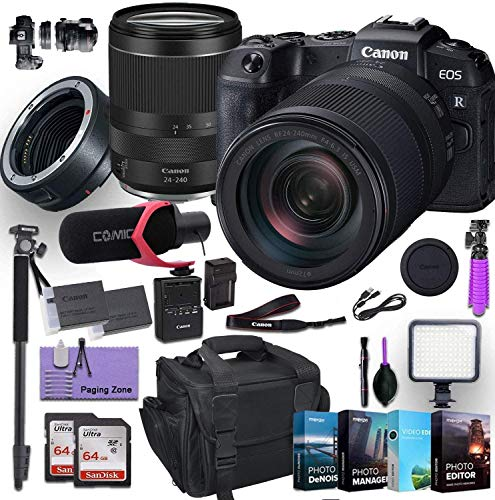Canon EOS RP Mirrorless Digital Camera with RF 24-240mm Lens Plus Canon Mount Adapter EF-EOS R Bundled w/ (Rode Microphone, 4 Pack Photo Editing Software & More)