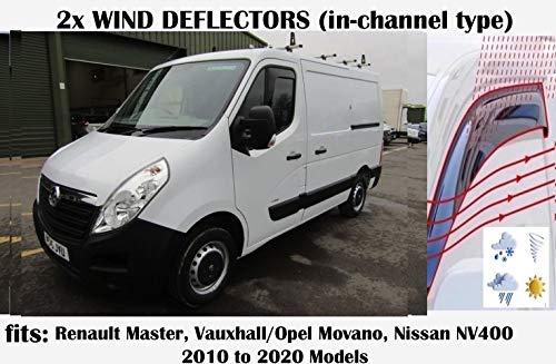 Windabweiser im Kanal-Stil, kompatibel mit Opel Movano, Renault Master, Nissan NV400 Van ab 2010, Acrylglas, Seitenblenden, Fensterabweiser