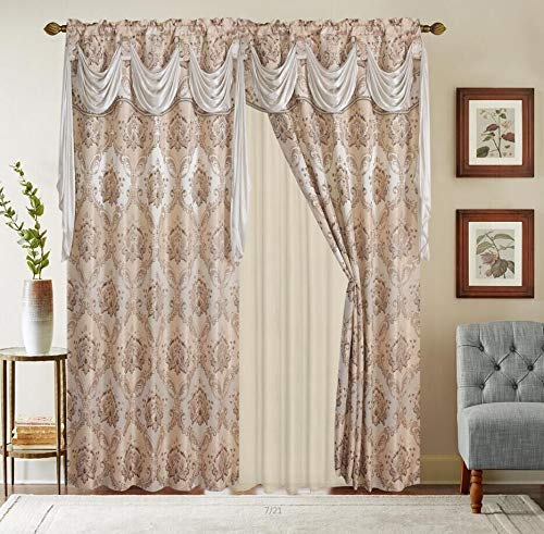 """Jacquard Window 84 Inch Length Curtain Drapes w/attached Valance Scarf + Sheer Backing + 2 Tassels, Traditional 84"""" Floral Curtain Drape for Living/Dining rooms, Rod Pocket (Elisa, 84, Beige)"""