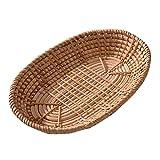 Pceewtyt Cesta de almacenamiento de mimbre tejida para pan, fruta, para el hogar, cocina, escritorio, aperitivos, varios organizadores