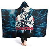Fall Wearable Hooded Blankets for Boys Girls Youth, Anime Naruto Kamui Kakashi Lightning Hooded Blankets for New Year Gift, Outside, Yoga, Soft Hooded Functional Hooded Throw Poncho, 60x50 Inch